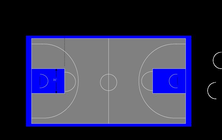 50′ X 100′ FIBA Basketball Court