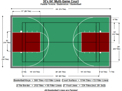 30′ X 64′ Multi-Game Court