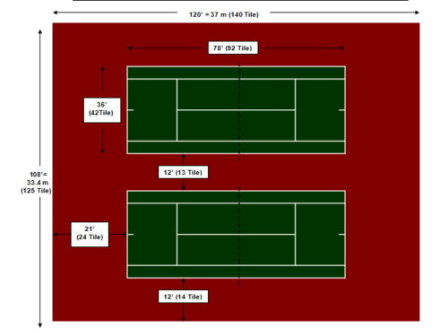 108′ X 120′ Double Tennis Court