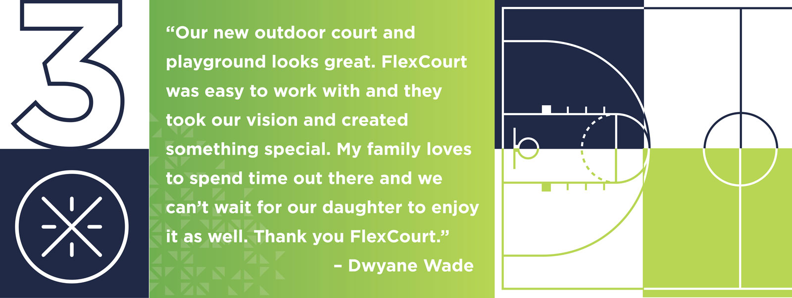 """Our new outdoor court and playground looks great. FlexCourt was easy to work with and they took our vision and created something special. My family loves to spend time out there and we can't wait for our daughter to enjoy it as well. Thank you FlexCourt."" - Dwyane Wade"